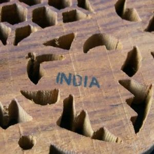 Vintage Accents - Vintage Hand Carved Wooden Trivet made in India